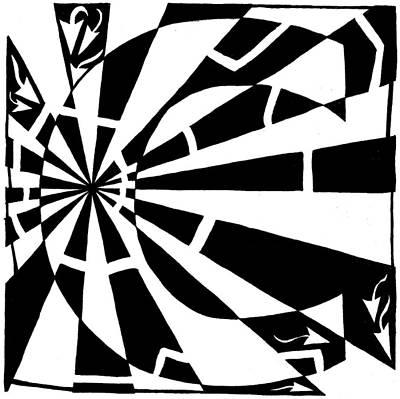 Alphabet Mazes Drawing - C-maze by Yonatan Frimer Maze Artist