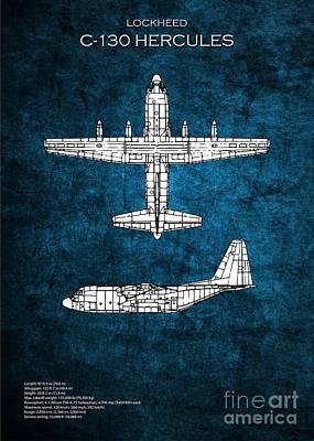 C130 Digital Art - C130 Hercules Aircraft Blueprints by J Biggadike