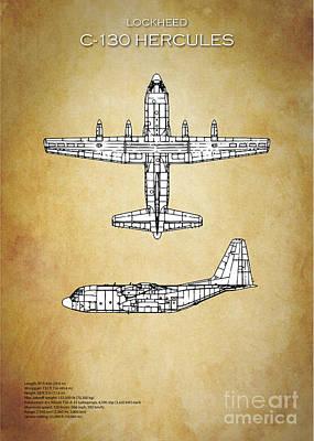 C-130 Wall Art - Digital Art - C130 Hercules Blueprint by J Biggadike
