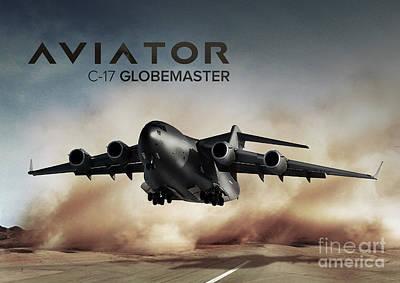 Aviator Digital Art - C17 Globemaster Cargo Plane by Fernando Miranda