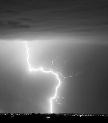C2g Lightning Strike In Black And White Art Print