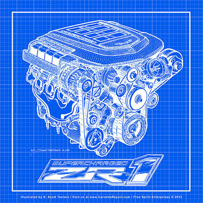 C6 Zr1 Corvette Ls9 Engine Blueprint Art Print