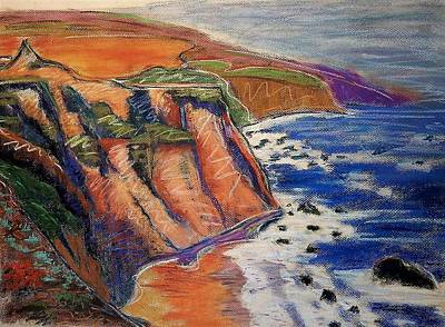Pastel - Ca Coastal Sketch by Gary Coleman