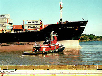 Photograph - Container Ship With Tugboat On The Mississippi River, New Orleans by Merton Allen