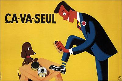 Royalty-Free and Rights-Managed Images - Ca Va Seul - Man Polishing Shoes - Vintage Advertising Poster by Studio Grafiikka