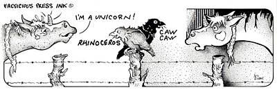 Drawing - Caaw Caaw Fpi Cartoon by Dawn Sperry