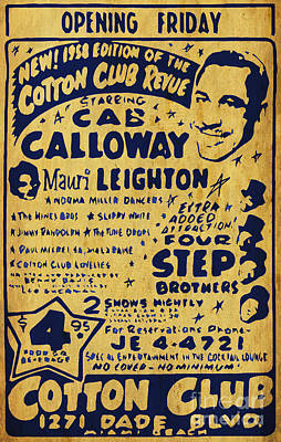 Flyers Art Drawing - Cab Calloway Antique Vintage Flyer by Pablo Franchi