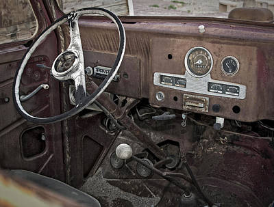 Photograph - Cab Of Abandoned Pickup Rusting In The Desert - by Phil Cardamone