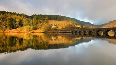Photograph - Caban Coch Reservoir Reflections by Stephen Taylor