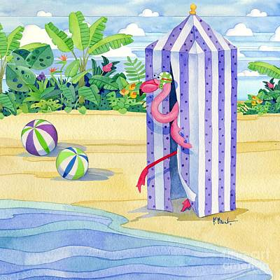 Cabana Flamingo Art Print by Paul Brent
