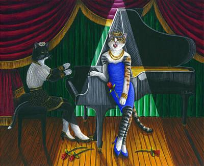 Cabaret Cats Print by Carol Wilson