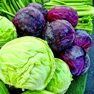 Photograph - Cabbages And Celery At Farmers Market by Kirsten Giving