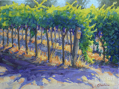 Napa Valley Vineyard Painting - Cabernet Rows by E Williams
