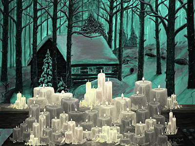 Log Cabin Painting - Cabin And Candles by Ken Figurski