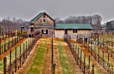 Cabin At Autumn Creek Vineyard Art Print