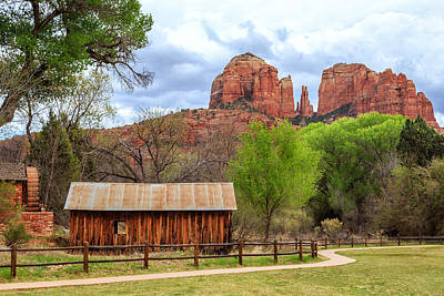 Cabin At Cathedral Rock Art Print