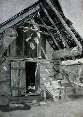 Horse Shed Drawing - Cabin Barn by Nicholas Nguyen
