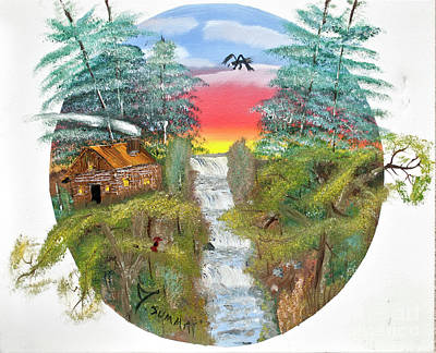 Painting - Cabin By The Falls by Joseph Summa