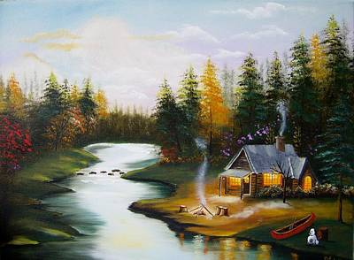 Cabin By The River Art Print