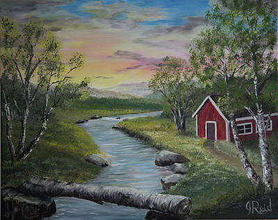 Painting - Cabin By The River by John Reid