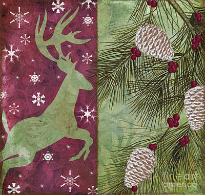 Cabin Christmas II Art Print by Mindy Sommers