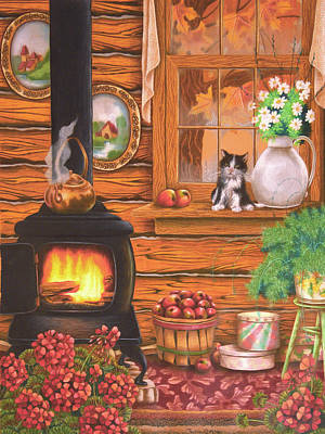 Old Cabins Drawing - Cabin Comfort by Teresa Frazier