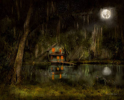 Moonlit Night Photograph - Cabin - De Land, Fl - Restless Night 1904 by Mike Savad