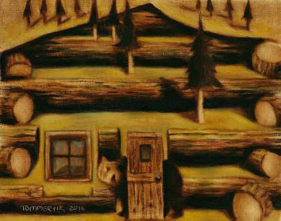Print featuring the painting Cabin Fever Grizzly Bear Art Print by Tommervik