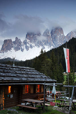 Cabin Glow, Dolomite Mountains Art Print
