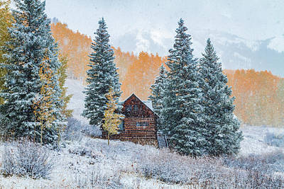 Photograph - Cabin In Autumn Snow by Teri Virbickis