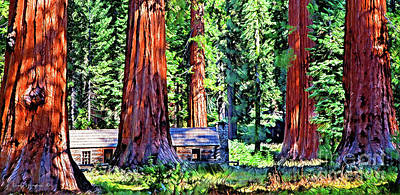 Photograph - Cabin In Mystical Giant Sequoia Forest by John Stephens