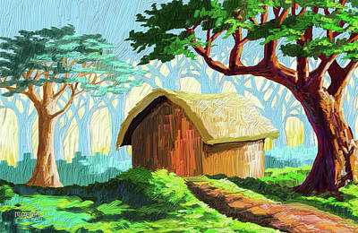 Painting - Cabin In The Forest by Anthony Mwangi