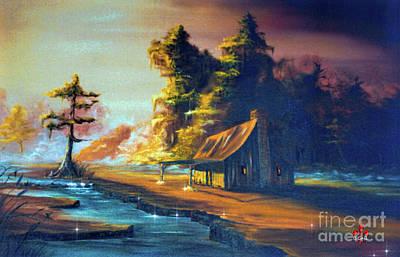 Beautiful Creek Mixed Media - Cabin In The Mist by Barbara Hebert