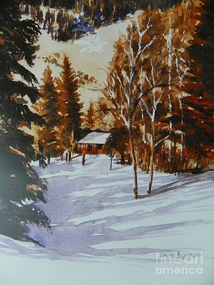 San Juan Painting - Cabin In The Mountain Snow  by David Ackerson