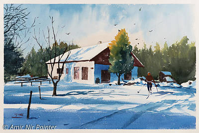 Skiing Fine Art Painting - Cabin In The Mountains by Amir Nir