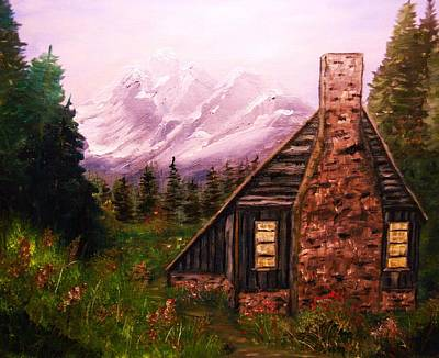 Must Art Painting - Cabin In The Mountains by Tina Haeger