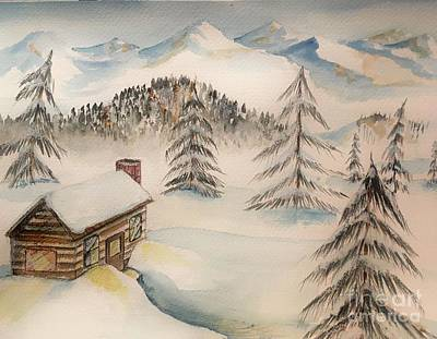 Cabin In The Rockies Art Print