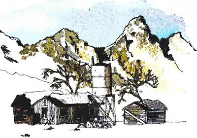 Teton Drawing - Cabin In The Tetons by Martin Goldman