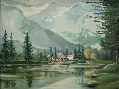 Smokey Mountains Painting - Cabin In The Valley by Charles Roy Smith