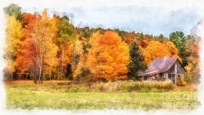 Painting - Cabin In The Woods Autumn by Edward Fielding