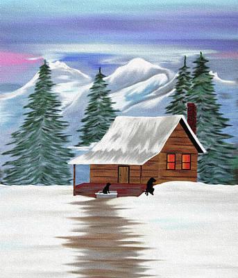 Black Labrador Retriever Digital Art - Cabin In The Woods by Black Dog Art Judy Burrows