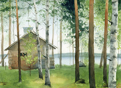 Painting - Cabin In The Woods by Zapista