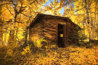 Painting - Cabin In The Woods by Joe Sparks