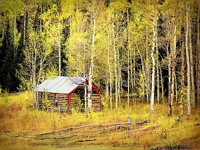 Cabin In The Golden Woods Art Print