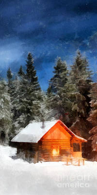 Winter Cabin Painting - Cabin In The Woods Phone Case by Edward Fielding