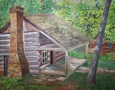 Painting - Cabin In The Woods by Ron Bowles