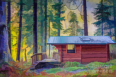Digital Art - Cabin In The Woods by Walter Colvin