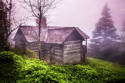 Photograph - Cabin On A Foggy Morning by Debra and Dave Vanderlaan