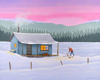 Cabin On A Frozen Lake Art Print