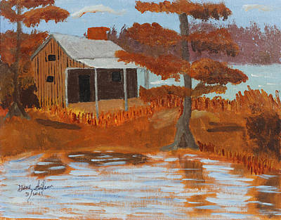 Cabin On Lake Art Print